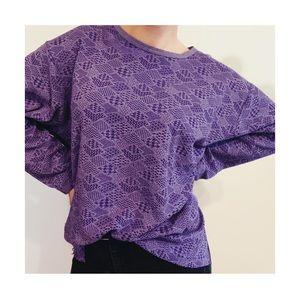 Vintage Purple Print Long-Sleeve Top